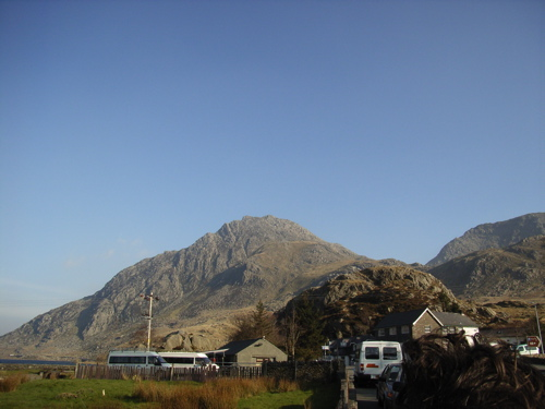 View of Tryfan from Ogwen Cottage on the shore of llyn Ogwen.