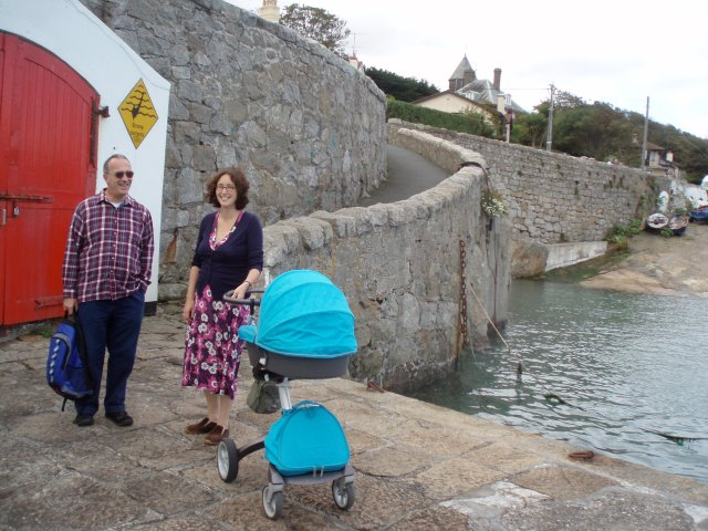 Frank's first little walk, to Colliemore Harbour with Grandma and Grandpa. Big brother was spending the day at the childminder's.