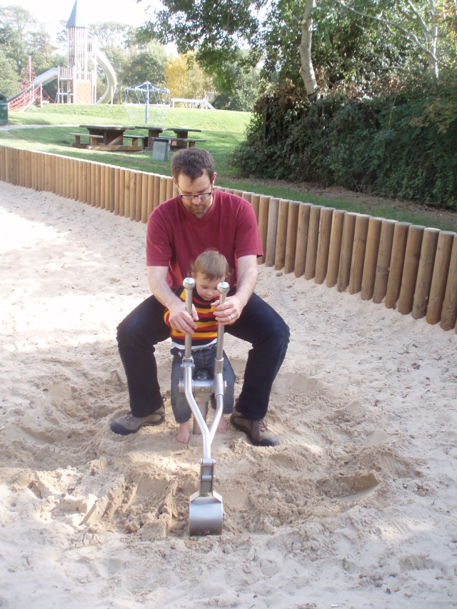 Hugh and Daddy at the playground in Malahide Demesne.