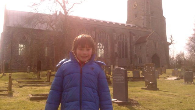 Hugh poses before the old church at Ranworth Broad