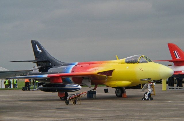 I'm pretty sure it was this Hawker Hunter, the Miss Demeanour. It was certainly coloured like this.
