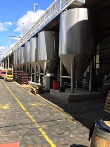 Fermenters outside Camden Town Brewery