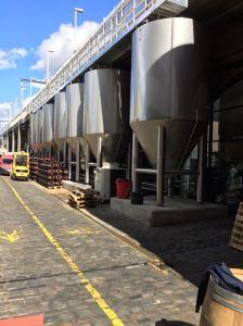 Fermenters outside Camden Town Brewery
