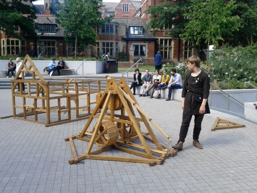 Trebuchet demonstation at the conference. A compact trebuchet for those seeking to destroy smaller fortifications