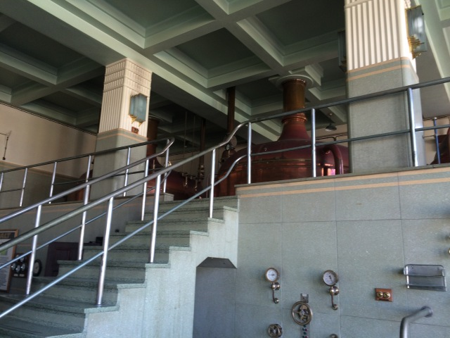Steps up to upper level where the mashing and lautering happens.